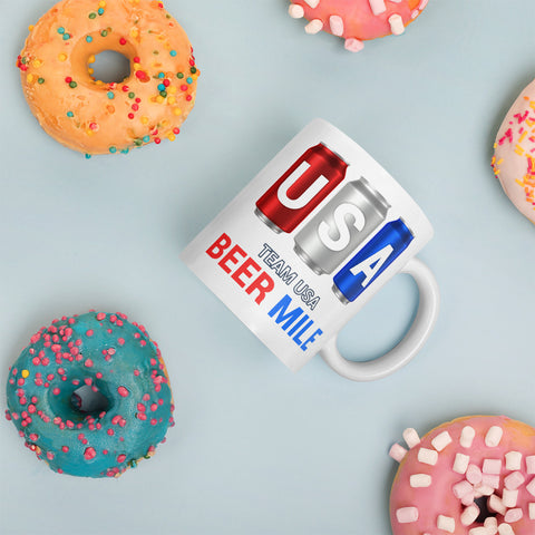 Team USA Beer Mile Cans Coffee Mug-Mugs-The Beer Mile-11oz-The Beer Mile