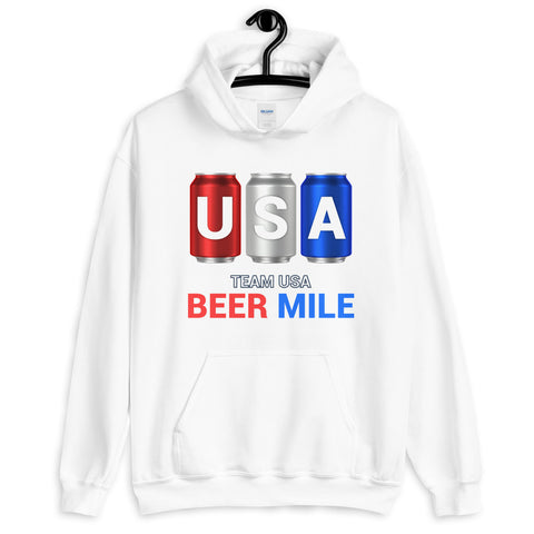 Team USA Beer Mile Cans Hooded Sweatshirt-Sweatshirts-The Beer Mile-White-S-The Beer Mile