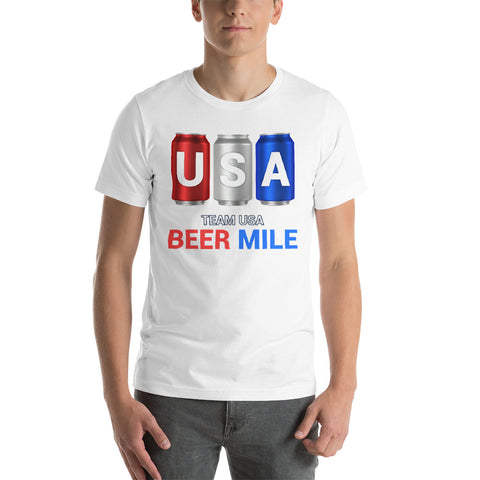 Team USA Beer Mile Cans T-Shirt-Shirts-The Beer Mile-White-XS-The Beer Mile