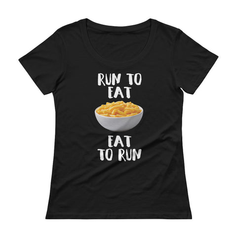 Run to Eat, Eat to Run Ladies' Scoopneck T-Shirt-Shirts-The Beer Mile-Black-XS-The Beer Mile