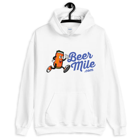 BeerMile.com Unisex Hoodie-Sweatshirts-The Beer Mile-White-S-The Beer Mile