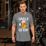 Early & Often Drinking Shirt-Shirts-The Beer Mile-Deep Heather-XS-The Beer Mile