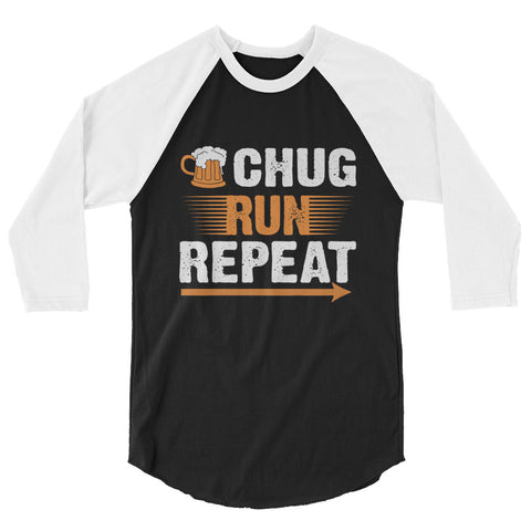 Chug Run Repeat 3/4 sleeve raglan shirt-Shirts-The Beer Mile-Black/White-XS-The Beer Mile