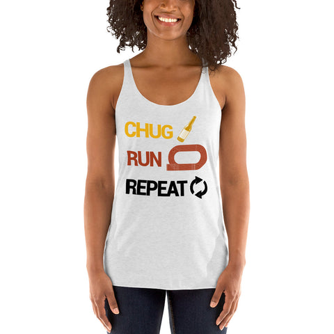 Chug Run Repeat Women's Racerback Tank-Tanks-The Beer Mile-Heather White-XS-The Beer Mile