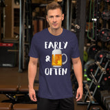 Early & Often Drinking Shirt-Shirts-The Beer Mile-Heather Midnight Navy-XS-The Beer Mile