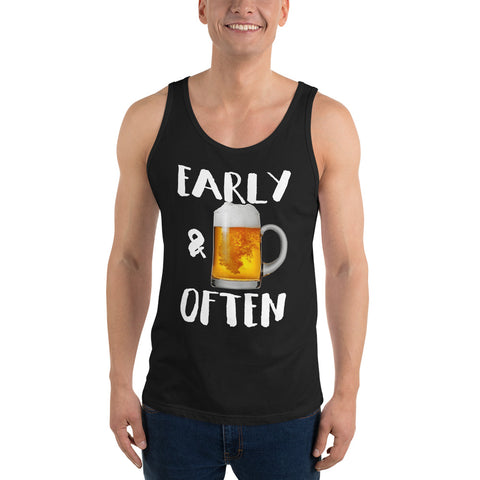 Early & Often Drinking Tank Top-Tanks-The Beer Mile-Black-XS-The Beer Mile