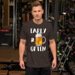 Early & Often Drinking Shirt-Shirts-The Beer Mile-Brown-S-The Beer Mile