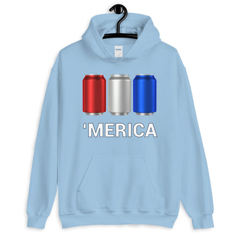'Merica Red, White, and Blue Beer Cans Hooded Sweatshirt-Sweatshirts-The Beer Mile-Light Blue-S-The Beer Mile