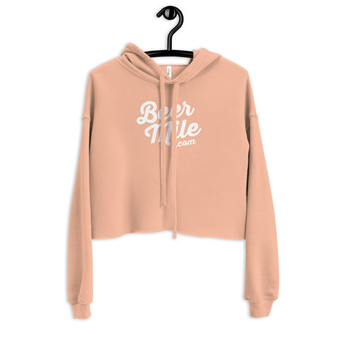 BeerMile.com Women's Crop Hoodie-Sweatshirts-The Beer Mile-Peach-S-The Beer Mile