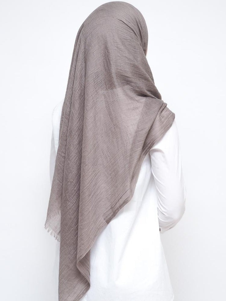 Wool Mix Hijab - Grey Beige
