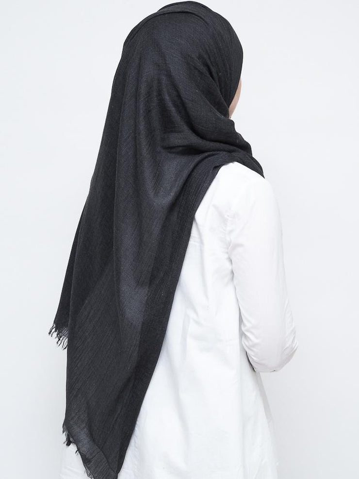 Wool Mix Hijab - Charcoal