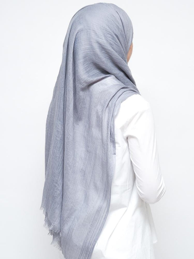 Wool Mix Hijab - Light Grey