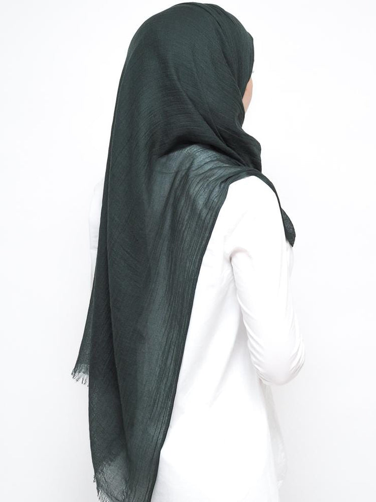 Wool Mix Hijab - Forest Green