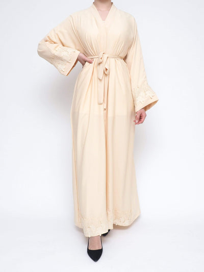 Open abaya firdaws with belt