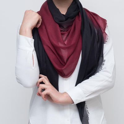 Ombre Black-Red Scarf
