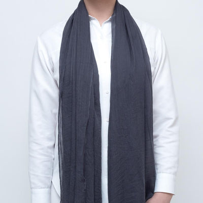 Grey Cotton Viscose Scarf