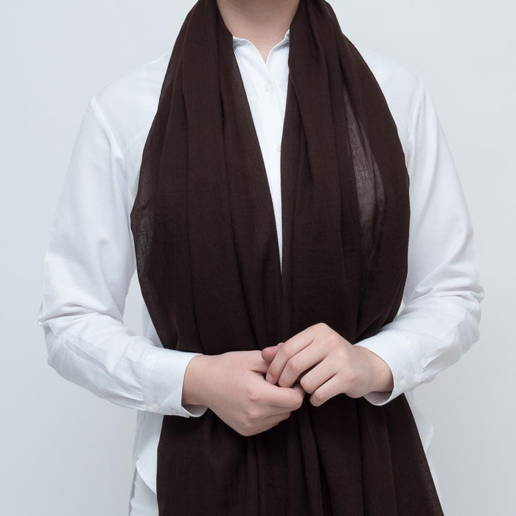 Brown Cotton Viscose Scarf