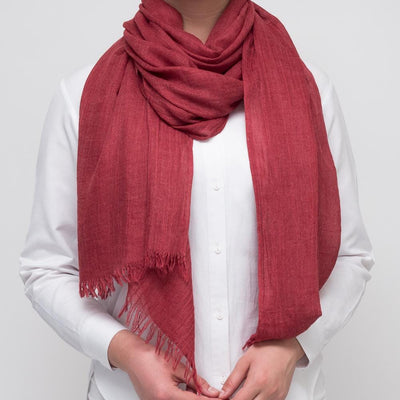 Cranberry Wool Mix Scarf