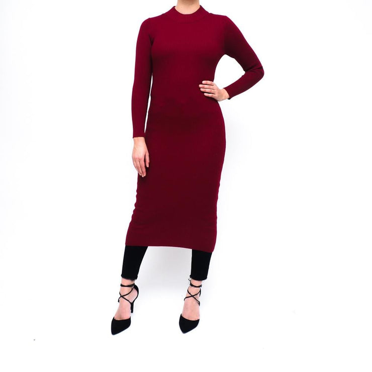 Wine Red Maxi Knit Dress