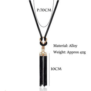 Long Gold/Black Chain Pendant Necklace w/Tassel