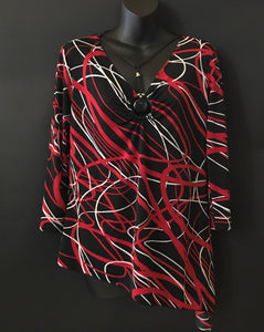 Black Red and White Pattern Blouse