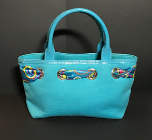 Blue Purse W/ Printed Ribbon