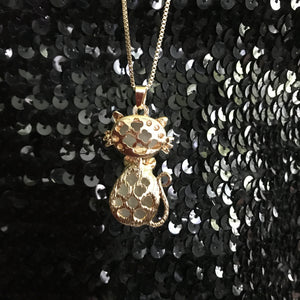 Cat shape Double Chain Pendant Long Necklace