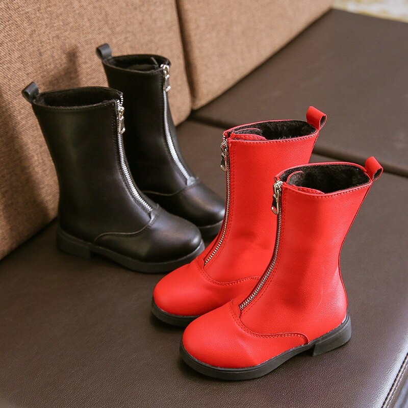 Front Zipper Solid Boots