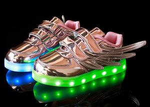 Wings colorful outdoor glowing LED shoes