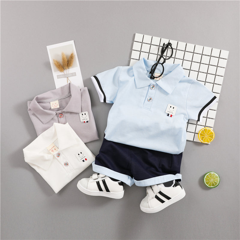 Baby Boys cotton Clothes Set  Short Sleeve Shirt + Black Pants in different colors