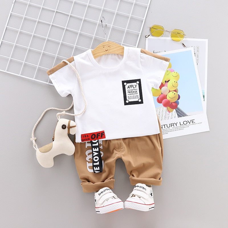 Letter Casual Short Sleeve Shirt Suit