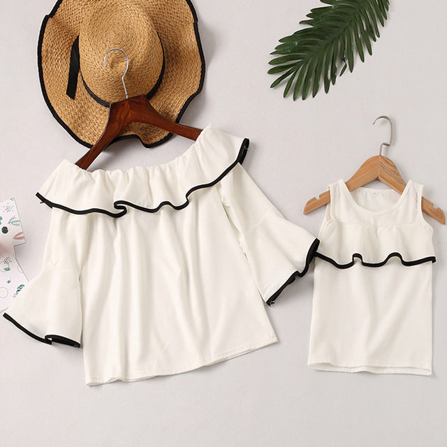 Female word shoulder ruffled trumpet sleeves shirt mother dress