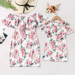 Mother and daughter family fitted a word shoulder print ruffled dress