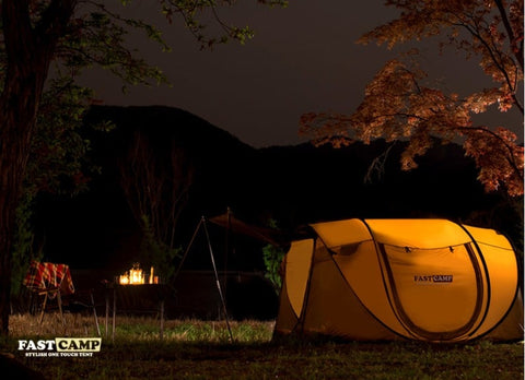 Outside Nighttime FastCamp Camping