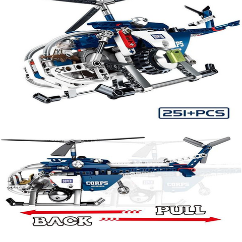 Image of UBUILD 250Pc Building Block Helicopter - AddPop