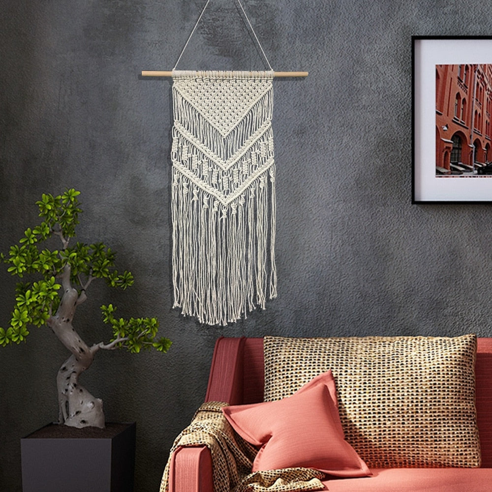 Knotted Threadwork Macrame Wall Hanging - AddPop