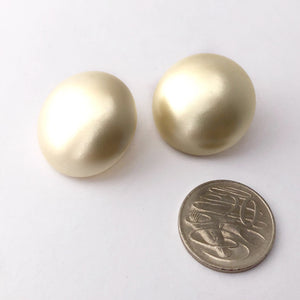 Vintage pearl button earrings