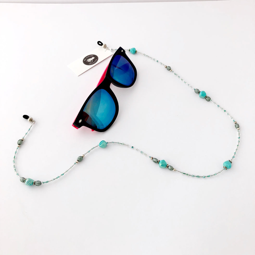 Vintage repurposed aqua beads glasses chain