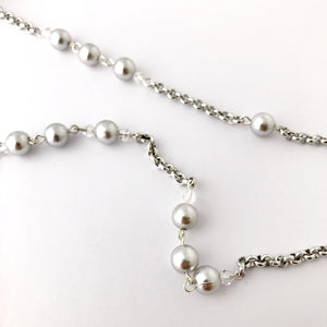 Vintage silver pearl bead glasses chain
