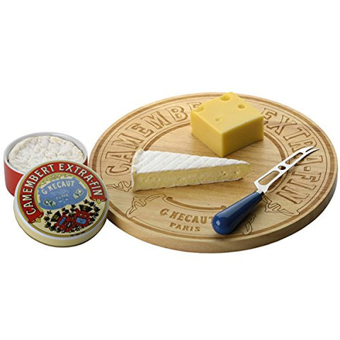 BIA Classic Camembert Rubberwood Etched Design Cheeseboard 35cm