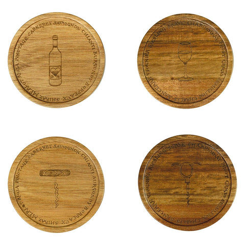 Clare Mackie for BIA Wine Cellar Acacia Coasters, Brown, Set of 4