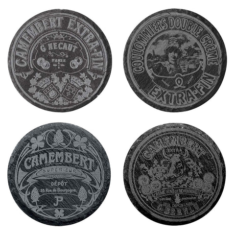 BIA Classic Camembert Slate Coasters, Black, Set of 4