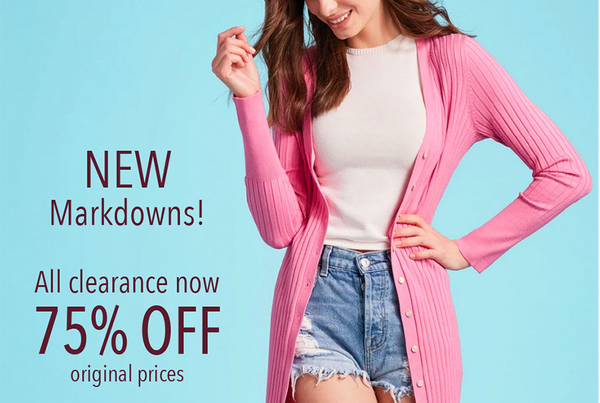75% OFF all clearance items!