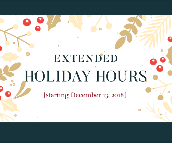 Extended Holiday Store Hours