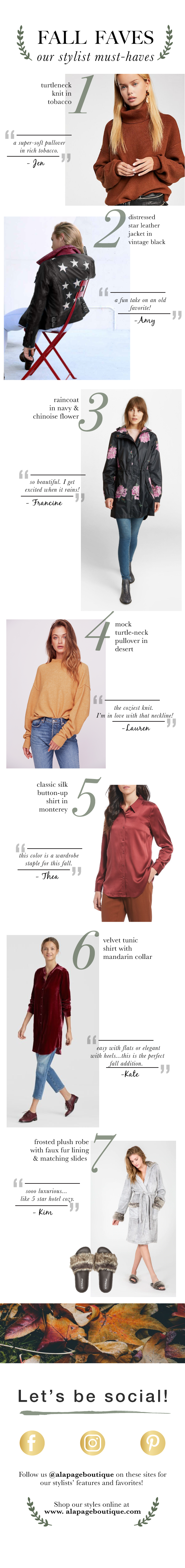 Fall favorites picked by alapage boutique's stylists
