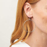 G Ring Hoop Earrings - Silver
