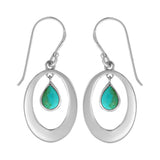 Turquoise Dangle Oval Earrings