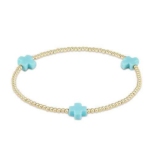 Sig. Cross - Turquoise, 2mm Bead