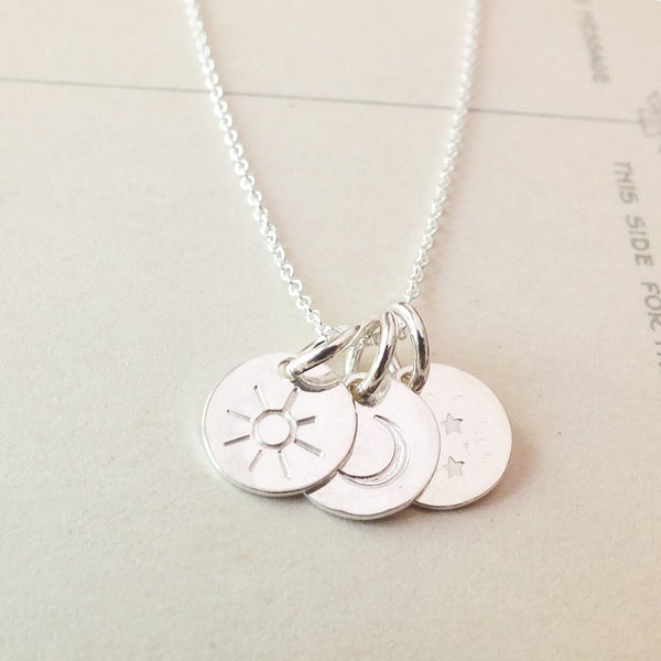 Sun, Moon And Stars Necklace - Silver