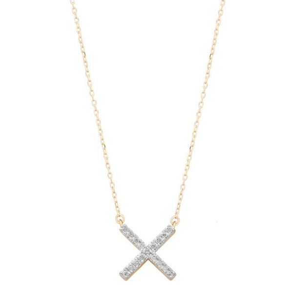 Pave X Necklace - Gold